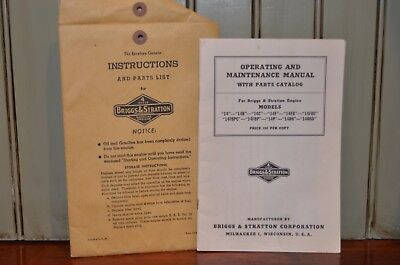 1950s Briggs & Stratton Models 14 Operating & Maintenance Manual Parts Catalog