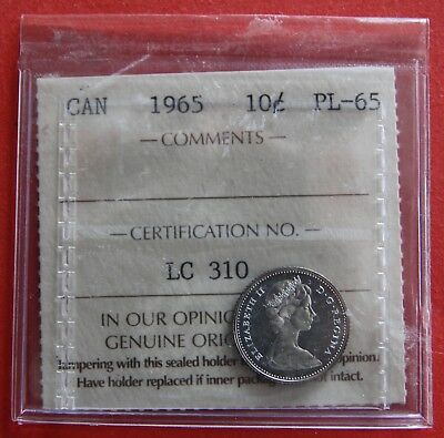 1965 Canada 10 Cent Silver Coin Dime LC310 - ICCS Proof-Like PL-65 Old Holder!