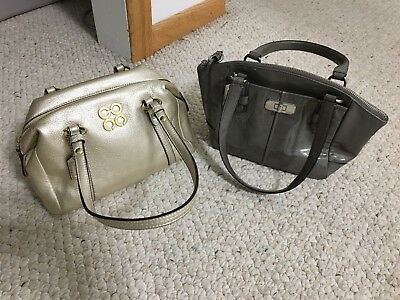 Authentic Coach Audrey Gold Chelsea Gray Small Mini Leather Two Handbags Set Lot