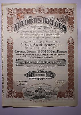 Autobus Belges Bond 1923 All Coupons and Signatures Stamped Make an offer!