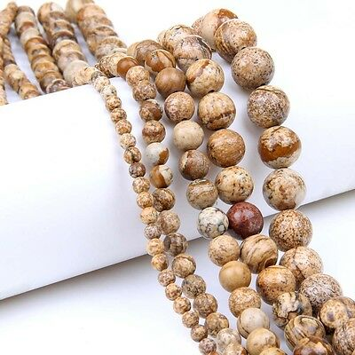 "15"" Natural Picture Jasper Gemstone Loose Beads Jewelry Finding Craft 4/6/8/10mm"