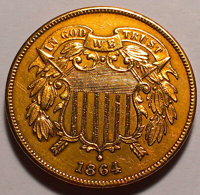 1864 Two Cent Piece CHOICE BU Red #2