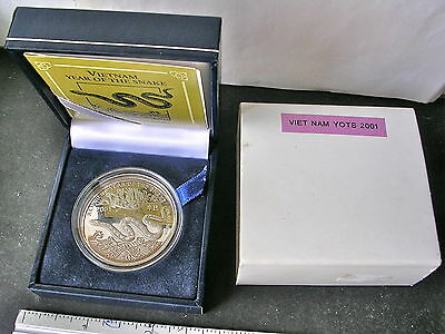 Vietnam 2001 Silver YEAR OF THE SNAKE 10,000 Dong Proof OGP/COA scarce!