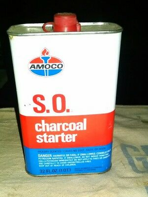 Amoco Oil S.o. Charcoal Starter Fluid 1 Qt. Can Standard Texaco Mobil Shell Gas