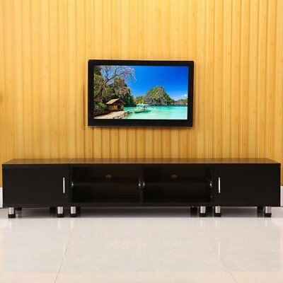 TV Cabinet White or Black Entertainment Unit Stand Gloss LED Lowline Shelf AM