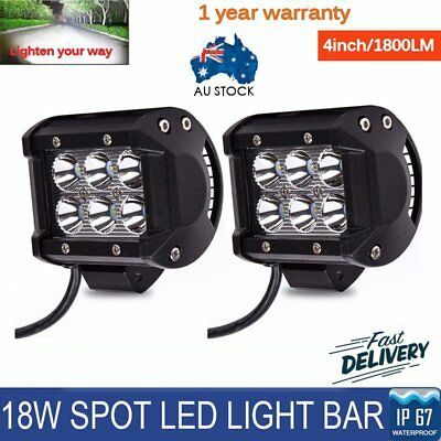 2x 4inch 18W 6 LED Work Light Bar Driving Lamp Flood Truck Offroad UTE 4WD AM