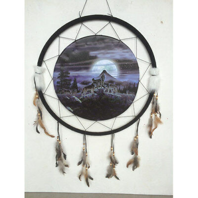"Giant 26"" Wolf Wolves Howl Moon Night Scene Mountain Dream Catcher Feathers 2669"