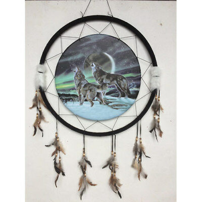 "Giant 26"" Wolves Moon Northern Lights Night Scene Dream Catcher Feathers 2670"