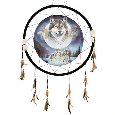 "Giant 26"" 3 Wolves Wolf Moon Night Scene Mountain Dream Catcher Feathers 2685"