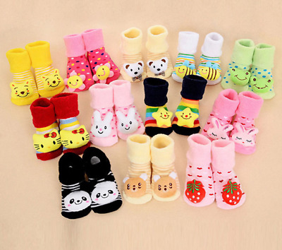 0-12 Months Baby Boots Anti-slip Socks Cartoon Newborn Girl Boy Slipper Shoes