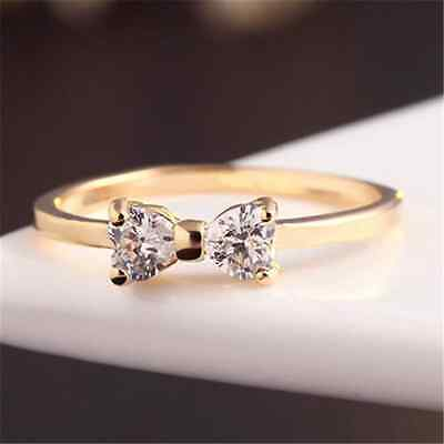 Charm Crystal Gold Plated Stylish Finger Bow Wedding Engagement Ring Gift TR New
