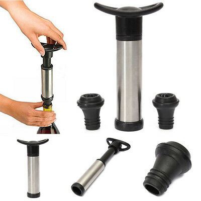 Reusable Wine Bottle Vacuum Wine Preserver Saver Sealer Pump With 2 Stoppers