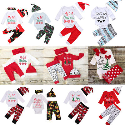My 1st Christmas Baby Boy Girls Infant Outfit Clothes Tops Pants Leggings Set US