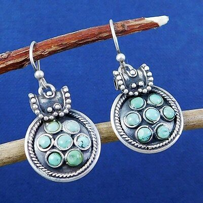"925 Silver 7.81g Cab Turquoise Gemstone Daily Wear Drop Girl Earring 1.4"" M5E261"