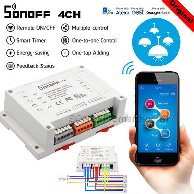 Sonoff 4CH Pro 4 Way Mounting WiFI Wireless Smart Switch 433MHZ Remote Control