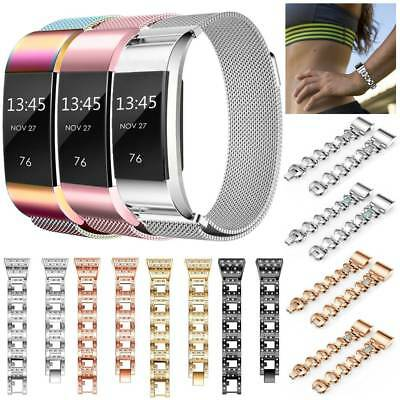 UK Stainless Steel Magnetic Milanese Loop Metal Band Strap For Fitbit Charge 2