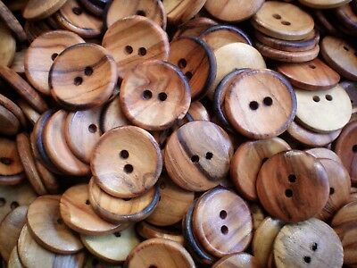 23mm 36L Golden Brown Wooden Wood Effect Natural Coat Craft 2 Hole Buttons W365