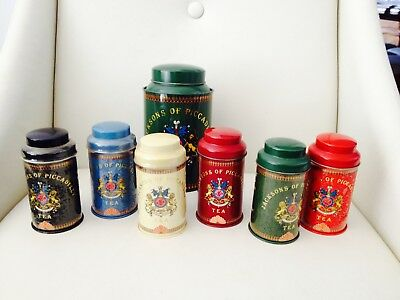 Set Of 7 X Vintage Jacksons Of Piccadilly Tea Tins - Some Unopened