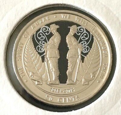 New Zealand NZ The Spirit of ANZAC 50 Cents Coloured Coin UNC