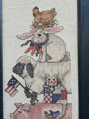 Hen Bunny Pig Cow Farmyard Animals Needlepoint Sampler ~ Framed Finished in USA