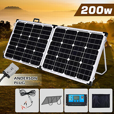 200W Folding Solar Panel Power Regulator 12V Battery Charger Portable Camping