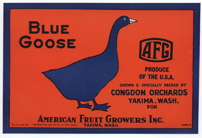 BLUE GOOSE Vintage Yakima Washington Pear Crate Label Congdon, AN ORIGINAL LABEL