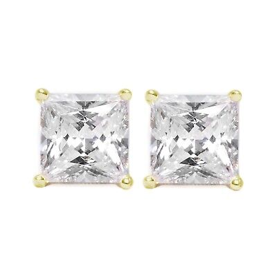 08f82fff3 1 Ct Princess Cut Diamond Earrings in Solid 14k Yellow Gold Screw Back Studs