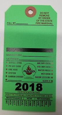 2018 Blank Green Fire Extinguisher Inspection Card Tag Office Boat (5 Pieces)