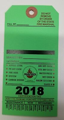 2018 Blank Green Fire Extinguisher Inspection Card Tag Office Boat (10 Pieces)