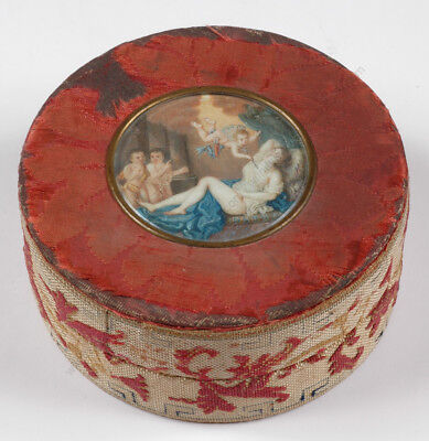 Rare French Lady's Toilet Box with Erotic Miniature, 18th Century