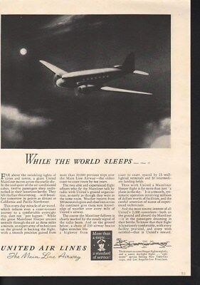 1938 United Airlines Travel Plane Fly  Aviation Pilot-14741