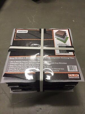 Pack of 6 Clik Charcoal Grey Recycled Plastic Easy-Fit Decking Floor Tiles