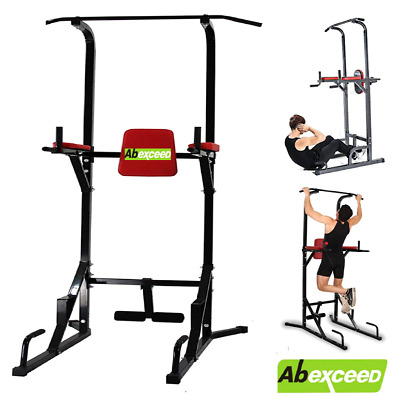 New Fitness Power Tower Dip Station Sit/Pull/Press/Chin Up Bench Bar Ab Home Gym