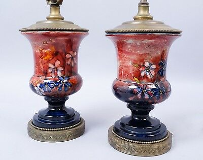Vintage Early 20c Pr Moorcroft Pottery Spring Flowers Urns Vases Fitted as Lamps