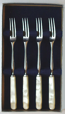 4 Antique Sheffield ENGLAND Stainless Forks w/Mother of Pearl Handles - Kirk's
