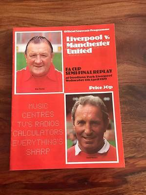 Liverpool V Manchester United 1979 Fa Cup Semi Final Replay Programme Mint Look