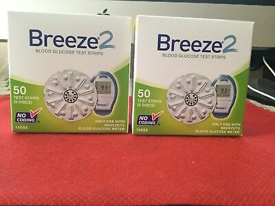 Bayer Breeze2 Blood Glucose Test Strips 100 Count (2 boxes - 50 CT) Exp: 2019-02