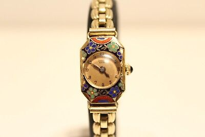 "Art Deco Rare Swiss Small Solid Gold 14K Enamel Ladies Mechanical Watch""carrier"""