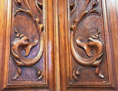 Hand Carved Wood Panel Matched Pair Antique French Griffin Architectural Salvage