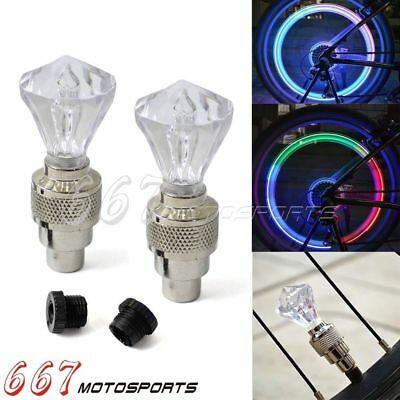 2x Flash LED Light Lamp for Car Bike Bicycle Wheel Tire Valve Dust Cap Universal