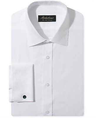 NWT $277 MICHELSONS Men SLIM-FIT FRENCH-CUFF WHITE TUXEDO DRESS SHIRT 16 32/33 L
