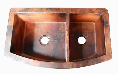 Rounded Apron Front Farmhouse Kitchen Double Bowl Mexican Copper Sink 60/40 # 04