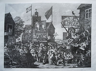 William Hogarth Zirkus Volksfest Kirmes Rummel echter   alter Kupferstich 1800