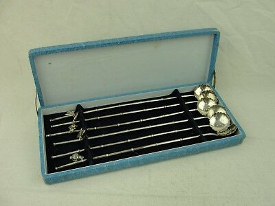 Vintage Japanese Sterling Silver .950 Bamboo Flower Straw Spoon Combo w/ Charms