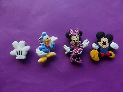 4 Mickey Mouse Donald Duck jibbitz croc shoe charm wrist loom band cake toppers