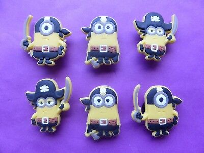 6 Pirate Minions Despicable Me jibbitz croc shoe charms loom bands cake toppers
