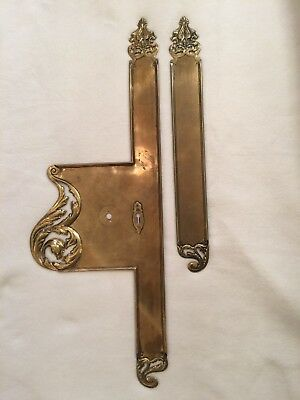 Antique Solid Brass French Decorative Door Plate Mansion Chateau Lions