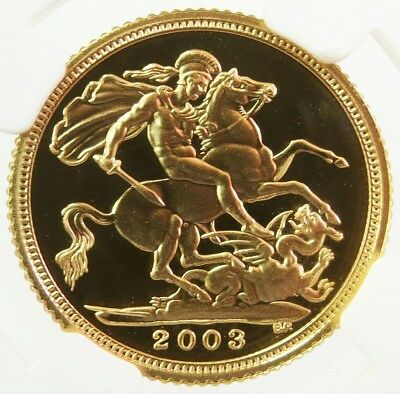 2003 Gold Great Britain 1/2 Sovereign St. George Coin Ngc Proof 69 Ultra Cameo