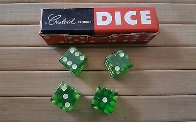 Vintage Crisloid Green CHEATERS Lucite dice. 4 dice 1/2""