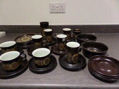 collection of DENBY ARABESQUE - cups, plates, saucers, sugar, mug - 28pcs